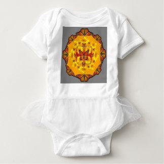 GREY MONARCH BUTTERFLY & YELLOW SUNFLOWERS BABY BODYSUIT