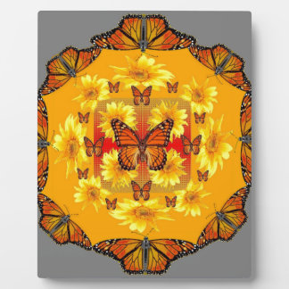 GREY MONARCH BUTTERFLY & YELLOW SUNFLOWERS PLAQUE