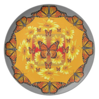 GREY MONARCH BUTTERFLY & YELLOW SUNFLOWERS PLATE