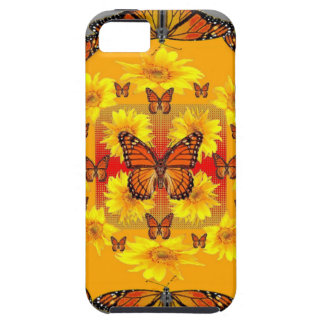 GREY MONARCH BUTTERFLY & YELLOW SUNFLOWERS TOUGH iPhone 5 CASE
