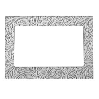 Grey Monochrome Vintage Floral Scrollwork Graphic Picture Frame Magnets