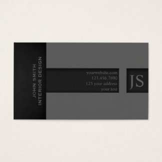Grey Monogram Business Card