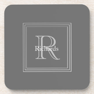 Grey Monogram S/6 Coasters