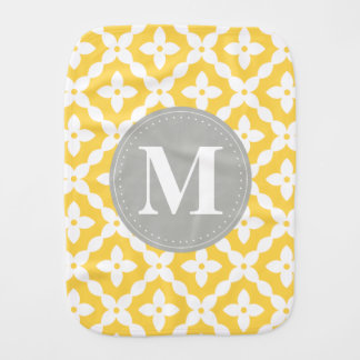 Grey Monogram Yellow Floral Pattern Pillow Burp Cloth