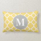 Grey Monogram Yellow Quatrefoil Pattern Lumbar Cushion