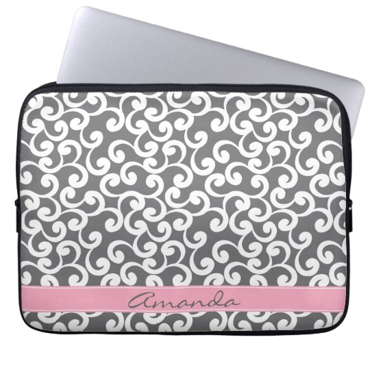 Grey Monogrammed Elements Print Laptop Sleeve