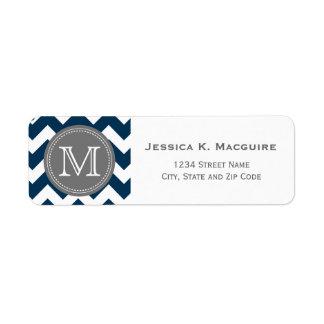Grey Monogrammed Navy Blue Chevron Return Address Label