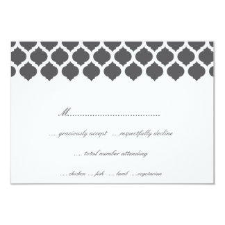 Grey Moroccan Pattern Wedding Party RSVP Cards Custom Invites