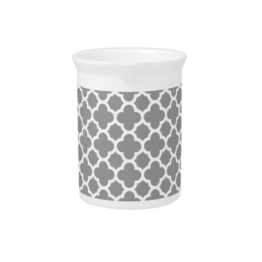 Grey Morrocan quatrefoil pattern Drink Pitcher