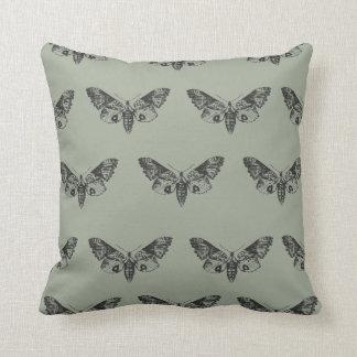 Grey Moth Throw Pillow