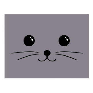 Grey Mouse Cute Animal Face Design Post Cards