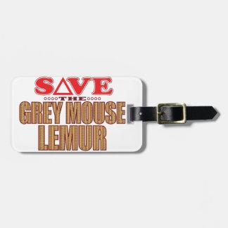 Grey Mouse Lemur Save Luggage Tag