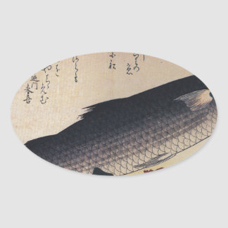 Grey mullet and camellia by Hiroshige Oval Sticker
