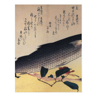 Grey mullet and camellia by Hiroshige Postcard
