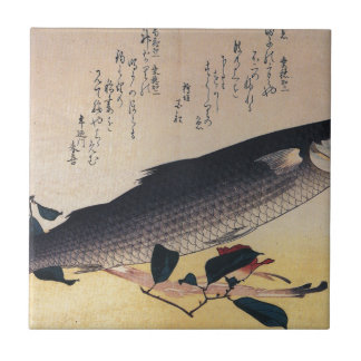 Grey mullet and camellia by Hiroshige Small Square Tile