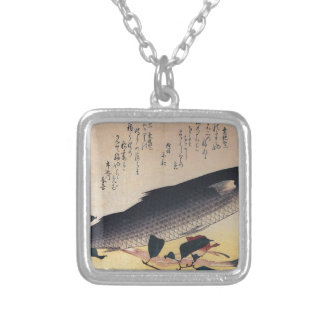 Grey mullet and camellia by Hiroshige Square Pendant Necklace