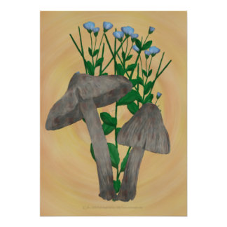Grey Mushrooms with Flax Poster Print