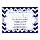 Grey Navy Chevron Invitation