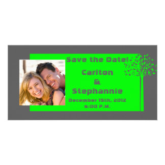 Grey/Neon Green Tree Wedding Photo Announcement Photo Card Template