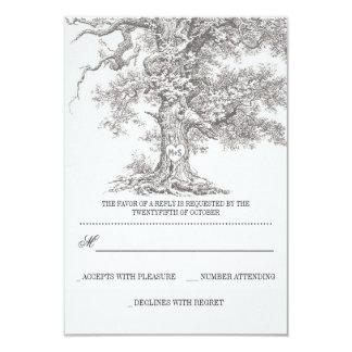 grey old tree rustic wedding RSVP cards 9 Cm X 13 Cm Invitation Card