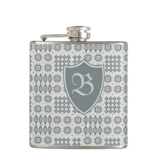 Grey on Grey Welsh Tapestry Monogram Hip Flask