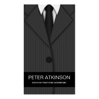 Grey or Gray Pinstripe Suit Vertical Accountant Pack Of Standard Business Cards