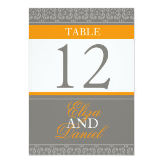 Grey & orange banded wedding table numbers card