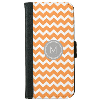 Grey Orange Chevron Pattern Monogram iPhone 6 Wallet Case