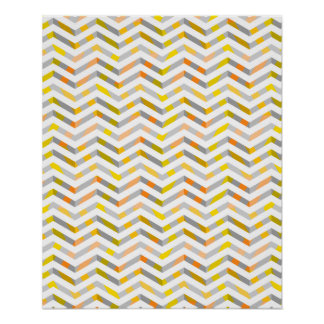Grey Orange Layered Chevron Poster