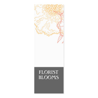 Grey Orange Red Modern Florist Product Tags Card Double-Sided Mini Business Cards (Pack Of 20)