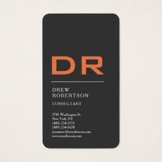 Grey Orange Trendy Monogram Professional Business Card