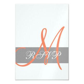 Grey Orange Wedding RSVP Card | Monogram Names 9 Cm X 13 Cm Invitation Card