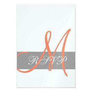 Grey Orange Wedding RSVP Card Monogram Names