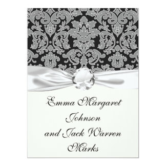 grey outlined damask on black pattern announcements