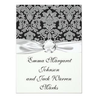 grey outlined damask on black pattern 17 cm x 22 cm invitation card