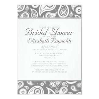 Grey Paisley Bridal Shower Invitations