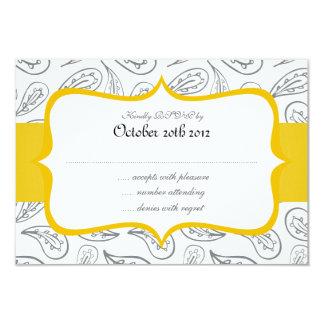 grey paisley pattern & yellow label on white RSVP 9 Cm X 13 Cm Invitation Card