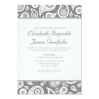 Grey Paisley Wedding Invitations