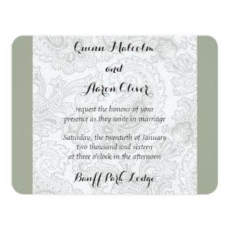 Grey Paisley Wedding Invite