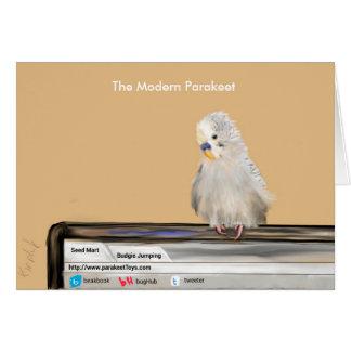 Grey Parakeet on Computer Card