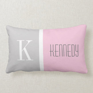 Grey Pastel Pink Color Block Monogram Name Lumbar Pillow
