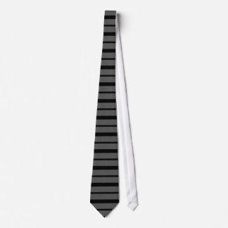 Grey Pattern Black Stripe Tie