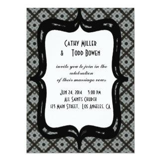 Grey Pattern Wedding 6.5x8.75 Paper Invitation Card