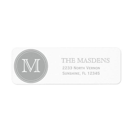 Grey Personalised Custom Monogrammed Return Address Label