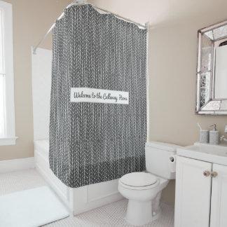 Grey Personalised Rustic Herringbone Pattern Shower Curtain