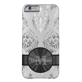Grey personalized monogram damask pattern barely there iPhone 6 case