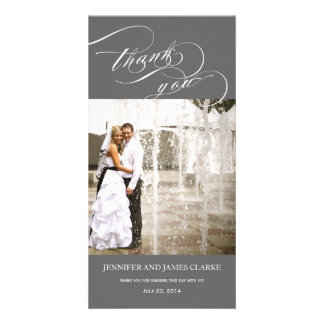 Grey Personalized Script Photo Wedding Thank You Photo Card