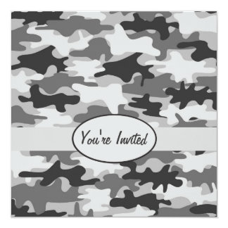 Grey Pewter Camo Camouflage Party Event Square Card