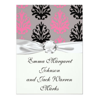 grey pink and black chic damask pattern custom invite