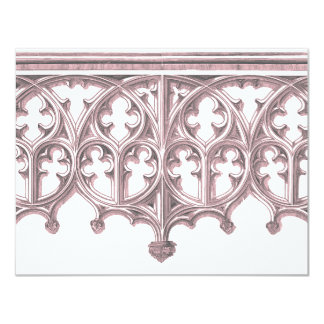 "Grey & Pink Cathedral Wedding Invitation 4.25"" X 5.5"" Invitation Card"